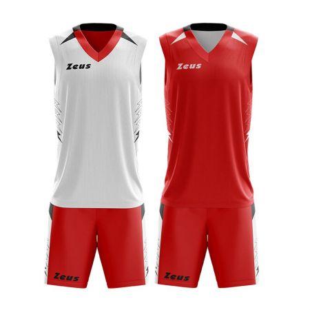 Детски Двулицев Баскетболен Екип ZEUS Reversible Kit Jam Rosso/Bianco 511302 KIT JAM